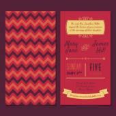 Vektor-Vintage-Einladungskarte mit Hintergrund Zick-Zack, Buchstaben, — Stockvektor