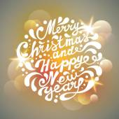 Merry Christmas and Happy New Year typography, handwriting. Ligh — Stock Vector