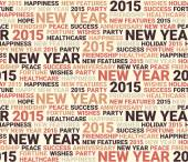 Happy new year seamless pattern. Word collage. Seamless illustra — Stock Vector