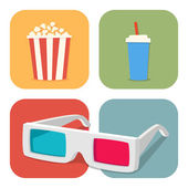 Movie showing with Popcorn, drinks and 3D Stereo Glasses — Stock Vector