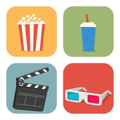 Movie showing with Popcorn, drinks, clapper board and 3D Stereo  — Stock Vector