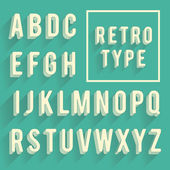 Retro poster alphabet. Retro font with shadow. Latin alphabet le — Stock Vector