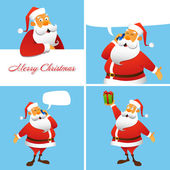 Set of four Christmas and New Year greeting cards. — Stock Vector