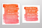 Set of Wedding Invitation with watercolor background — Stock Vector