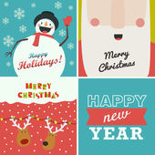 Set of four Christmas and New Year greeting cards. Santa Claus, — Stock Vector