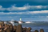 Breakwater in storm. — Stock Photo