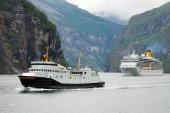 Ships in fjord, Norway. — Stock Photo