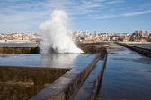 Porto breakwater, Portugal coast. — Stock Photo