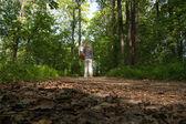 Walker in forest. — Stock Photo