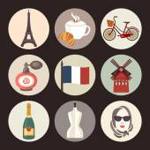 France icons — Stock Vector