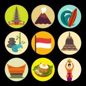 Indonesia icons — Stock Vector