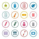 Art supplies icon set — Stock Vector