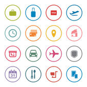 Airlines online services icon set — Stock Vector