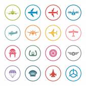 Airplanes icon set — Stock Vector