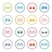 Eye glasses icon set — Stock Vector