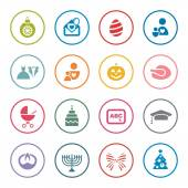 Holidays icon set — Stock Vector