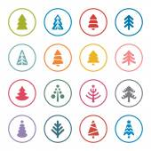 Christmas tree icon set — Stock Vector