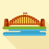 Bridge flat icon — Stock Vector