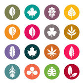 Leaves flat icons set — Stock Vector