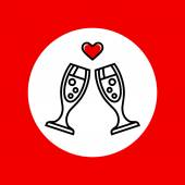 Champagne glasses with heart icon — Stock Vector