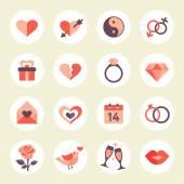 De dag van Valentijnskaarten pictogrammenset — Stockvector