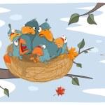 Bird with her babies — Stock Vector #52515091