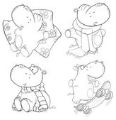 Set of hippopotamuses — Stock Vector