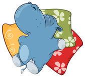 Sleeping hippopotamus — Stock Vector
