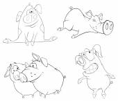 Set of pigs — Stock Vector