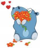 Hippopotamus with flowers — Stock Vector