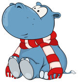 Hippopotamus in scarf — Stock Vector