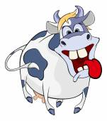 Happy blue cow — Stock Vector