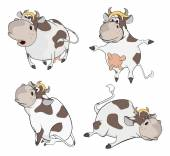 Set of happy cows — Stock Vector