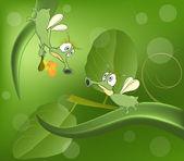Green glowworms — Stock Vector
