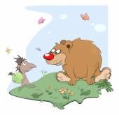Hedgehog and bear — Stock Vector