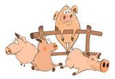 Little cartoon pigs — Stock Vector