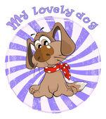 Hunting Dog Badge Cartoon — Stock Vector