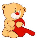 Toy bear cub and a towel cartoon — Stock Vector