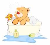 Toy bear cub in a bath cartoon — Stock Vector