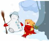 Toy bear  and a christmas snowball — Stock Vector