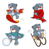 A set of stuffed bear toys cartoon — Stock Vector