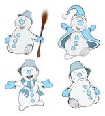 Set of funny Christmas snowmen — Stock Vector