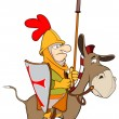 A knight and knightly donkey — Stock Vector