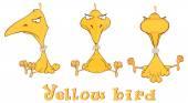 Set of Yellow birds cartoon — Stock Vector