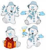 Christmas snowman cartoon — Stock Vector