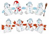 Two rows of Christmas Snowmans — Stock Vector