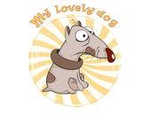 Dog Badge Cartoon — Stock Vector