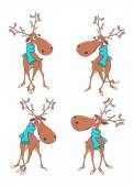 Set of reindeer cartoon — Vecteur