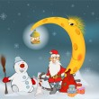 Santa Claus his friends and Christmas gifts. — Stock Vector #59290735