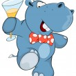 Hippopotamus with a glass of champagne. — Stock Vector #59290845